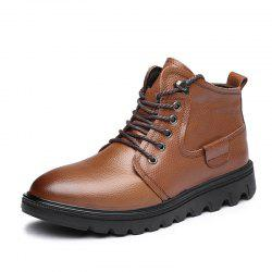 MUHUISEN Winter Casual Warm Lace Up Comfortable Flats Male Work Snow Boots -