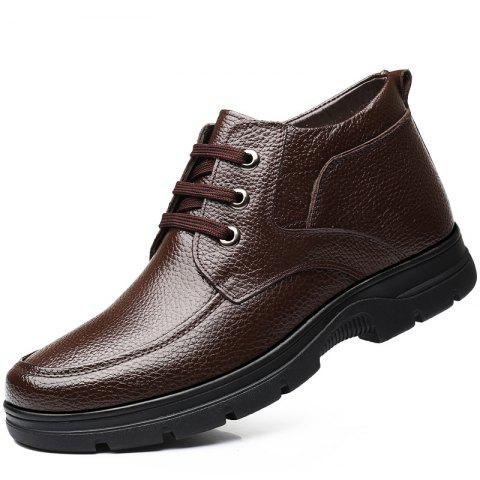 MUHUISEN Winter Leather Men Boots Plush Comfortable Casual Male Flats Shoes