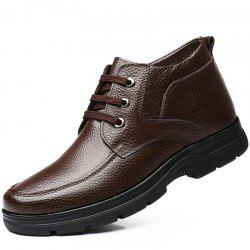MUHUISEN Winter Leather Men Boots Plush Comfortable Casual Male Flats Shoes -