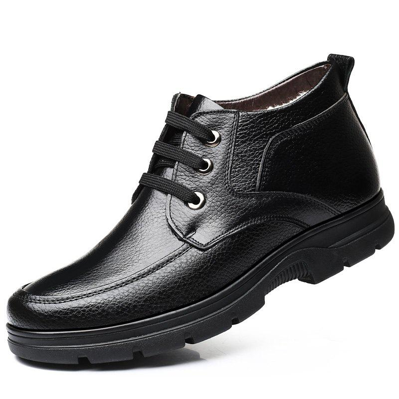 Affordable MUHUISEN Winter Leather Men Boots Plush Comfortable Casual Male Flats Shoes