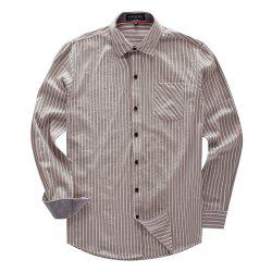 FREDD MARSHALL Men's New Long Sleeve Cotton Striped Casual Shirt -