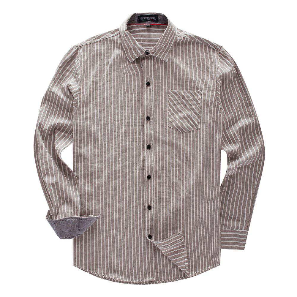Affordable FREDD MARSHALL Men's New Long Sleeve Cotton Striped Casual Shirt