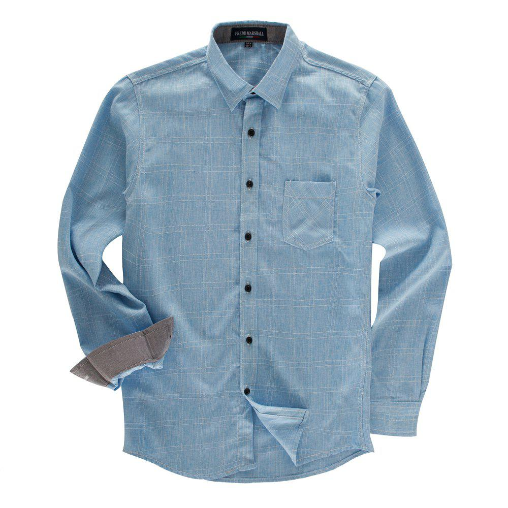 Latest FREDD MARSHALL Men's Long Sleeve Cotton Plaid Casual Shirt