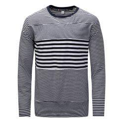FREDD MARSHALL Men's Long Sleeve Casual Striped Patchwork T-shirt -