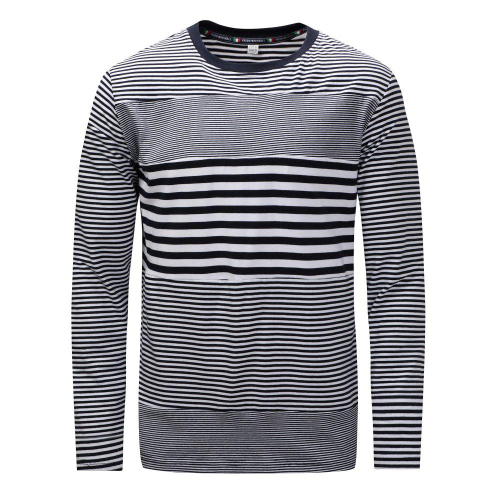 Outfits FREDD MARSHALL Men's Long Sleeve Casual Striped Patchwork T-shirt