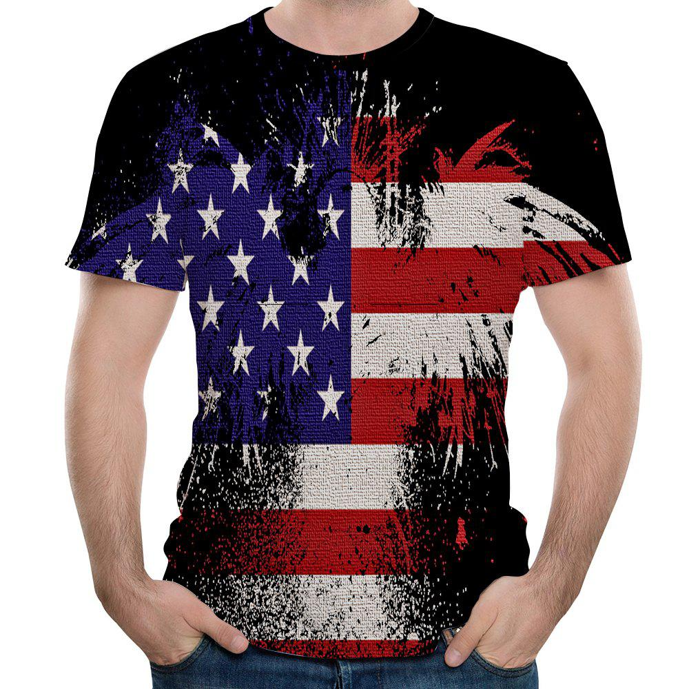 Latest Summer New Fashion 3D Printing Round Neck Short-sleeved T-shirt