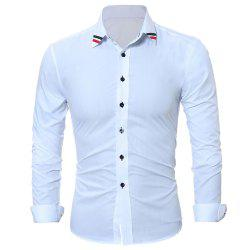 Fashion Classic Solid-Color Ribbon Men's Casual Long-Sleeved Shirts -