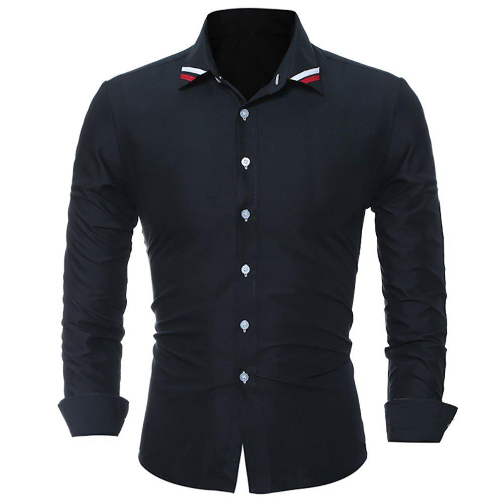 Discount Fashion Classic Solid-Color Ribbon Men's Casual Long-Sleeved Shirts