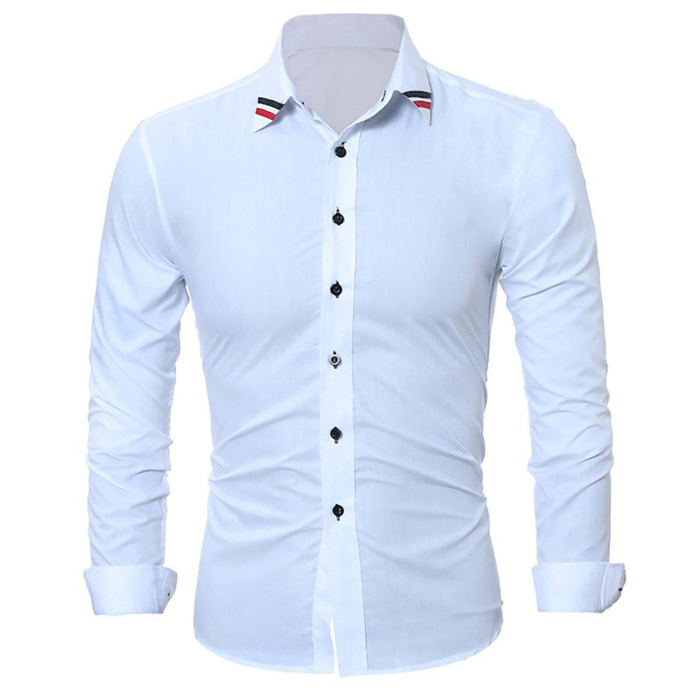 New Fashion Classic Solid-Color Ribbon Men's Casual Long-Sleeved Shirts