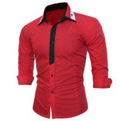 Men's Fashion Long-Sleeved Skinny Shirt with Light-Color Stitching -