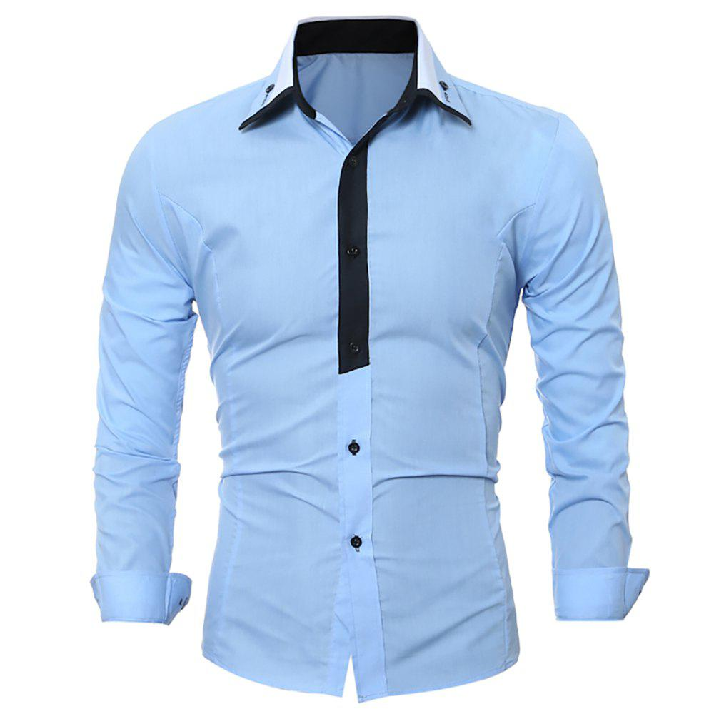 Chic Men's Fashion Long-Sleeved Skinny Shirt with Light-Color Stitching