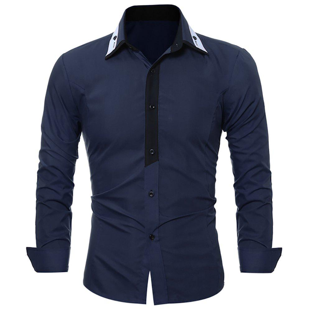 Buy Men's Fashion Long-Sleeved Skinny Shirt with Light-Color Stitching