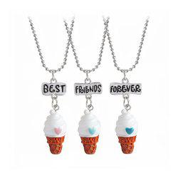 3pcs Lovely Heart Ice Cream Necklaces Friendship BFF Gift -