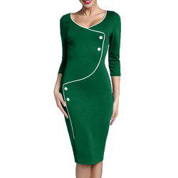 Women's Solid Color Buttons Decoration Split Office Pencil Dress -