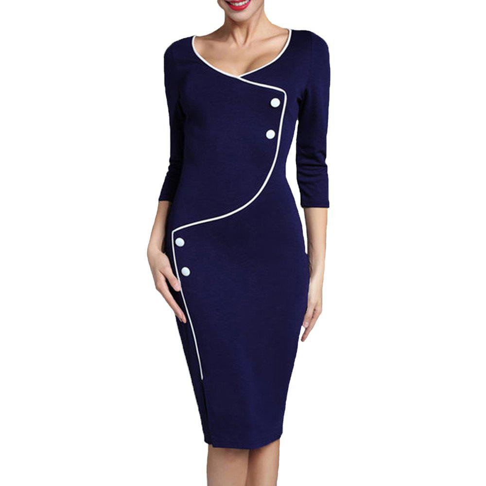 Cheap Women's Solid Color Buttons Decoration Split Office Pencil Dress