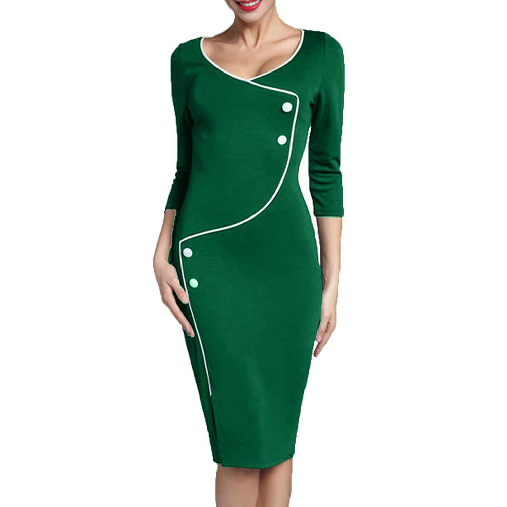 Hot Women's Solid Color Buttons Decoration Split Office Pencil Dress