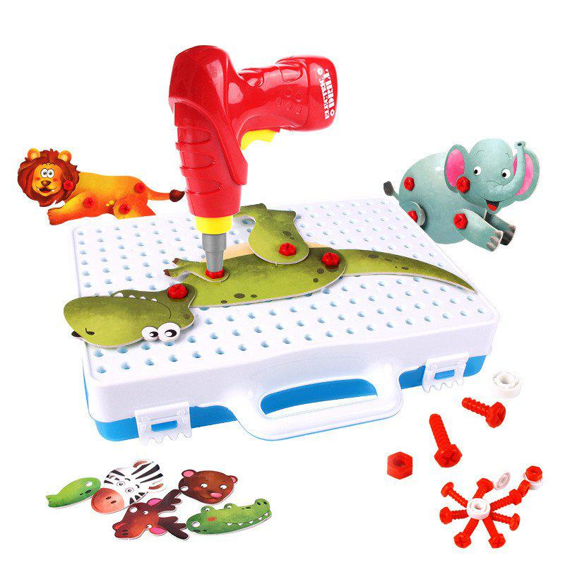 Store Animal 3D Puzzle Electric Drill Screw Nut Assembly Toy Dinosaur Elephant