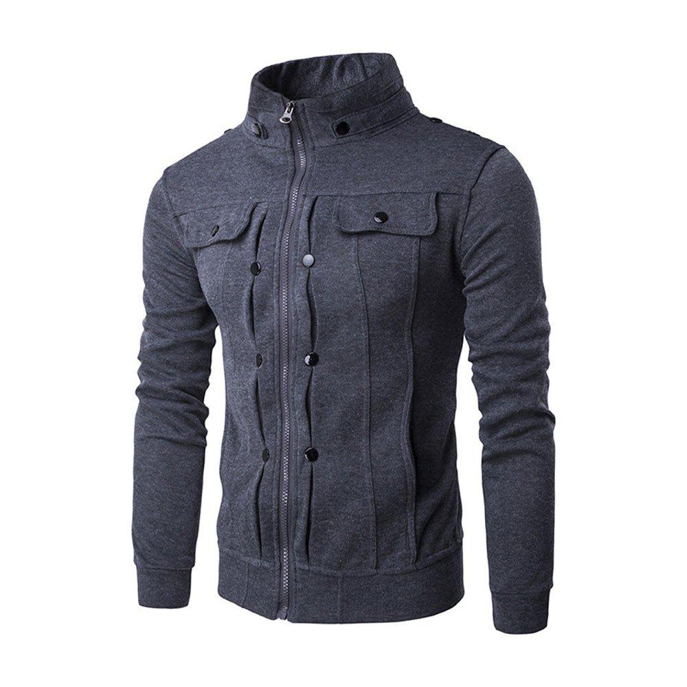 Trendy Autumn Winter Men's  Personality  Collar Button Zipper Sweatshirt