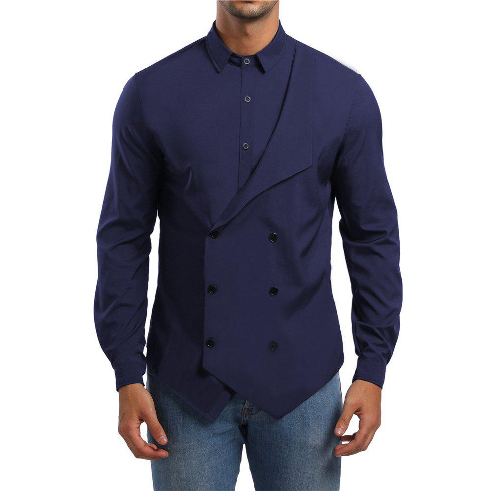 Online Men's Casual 2-In-1 Lapel Long Sleeve Shirt
