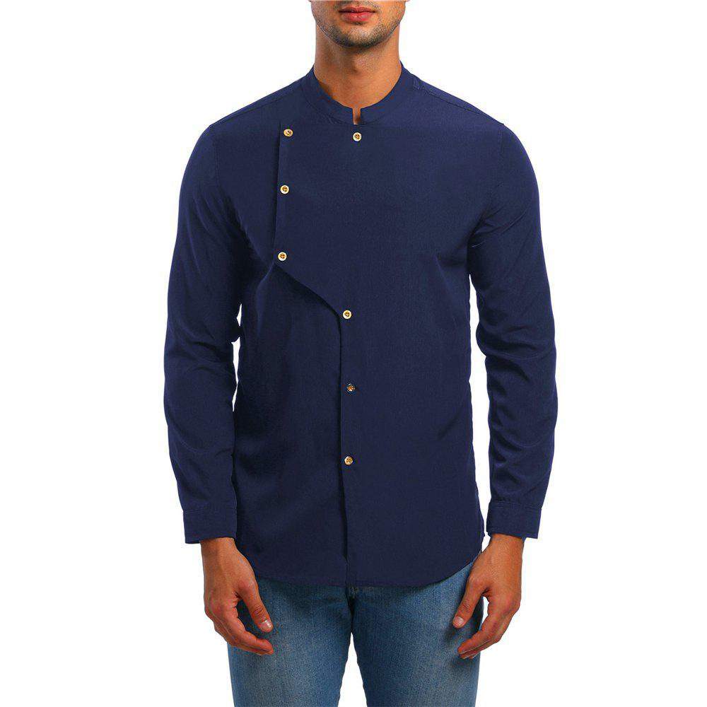 Hot Men's Asymmetrical Double Breasted Shirt