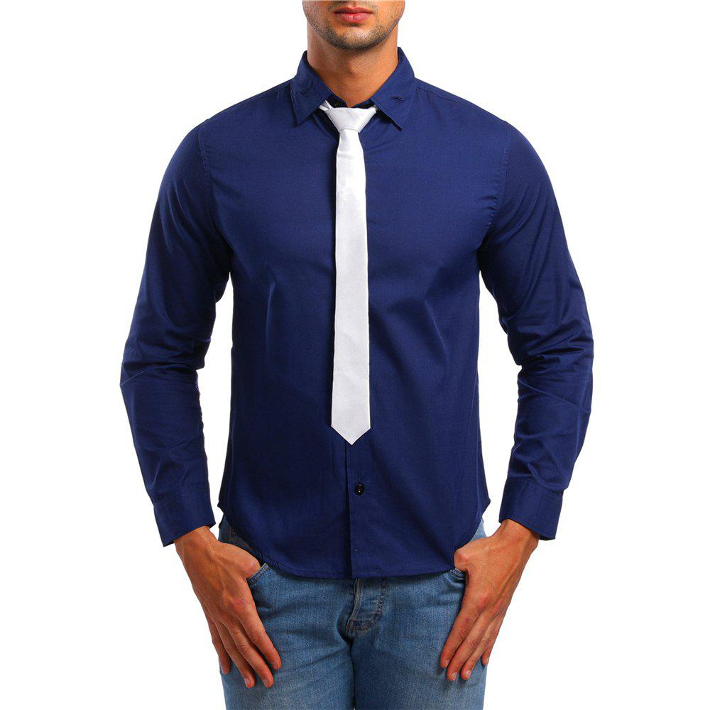 Latest Men's Casual Lapel Long Sleeve Solid Color Shirt