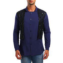 Men's Long Sleeve Stand Collar Lace Sequin Shirt -