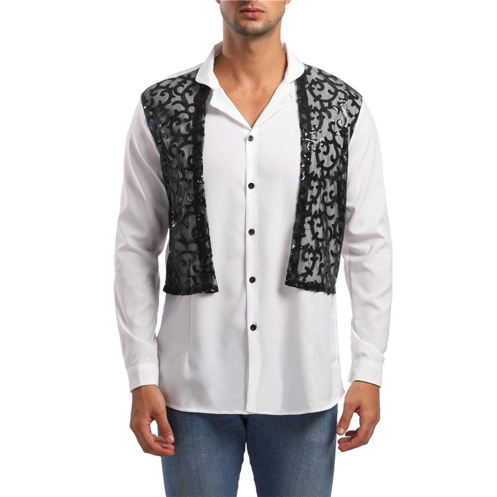 Fashion Men's Long Sleeve Stand Collar Lace Sequin Shirt