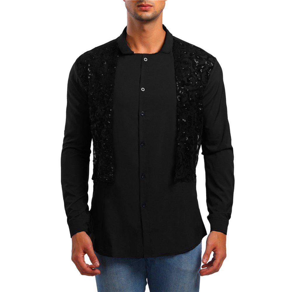 Discount Men's Long Sleeve Stand Collar Lace Sequin Shirt