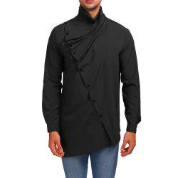Men's Asymmetrical High Collar Shirt -