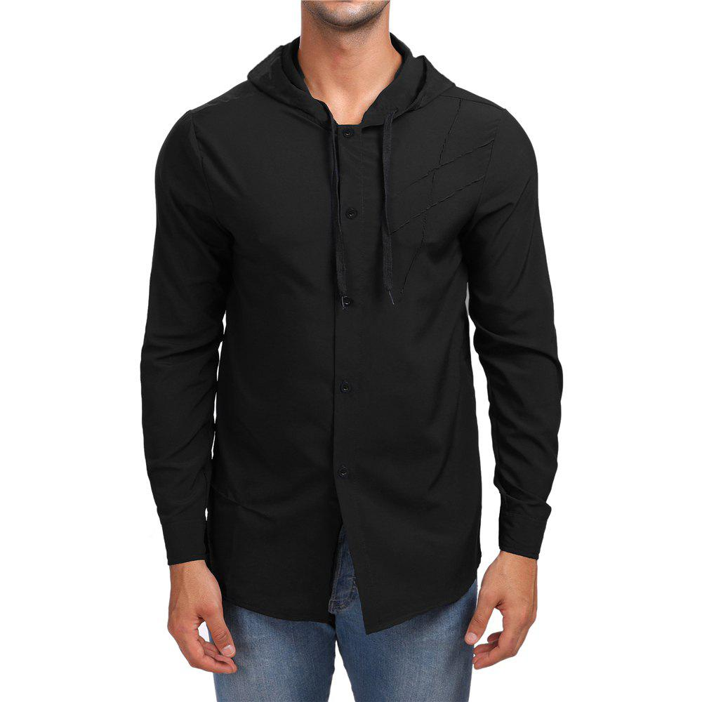 Latest Men's Solid Color Hooded Shirt