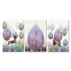 DYC 3PCS Wild Deer Running in The Forest Print Art -
