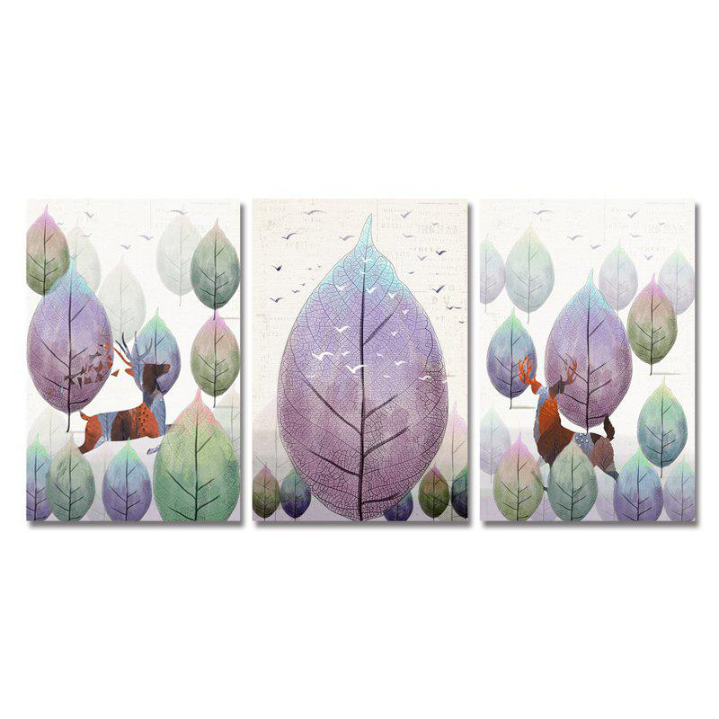 Fashion DYC 3PCS Wild Deer Running in The Forest Print Art