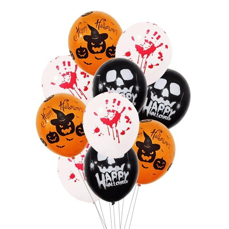 Chic 9pcs 12 Inch Latex Balloons Spider Web Pumpkin Party Decor Halloween Decoration
