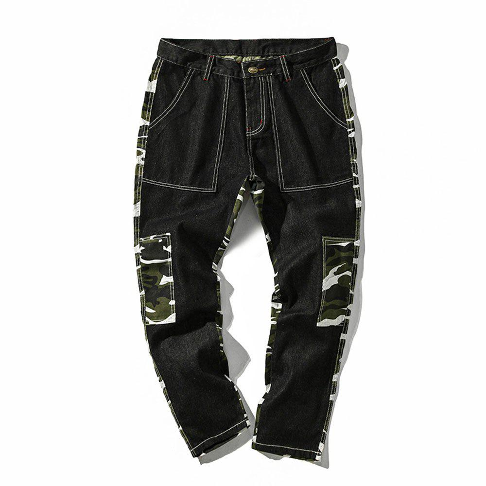 Shop Men's  Camouflage Stitching Multi-pocket Casual Pants