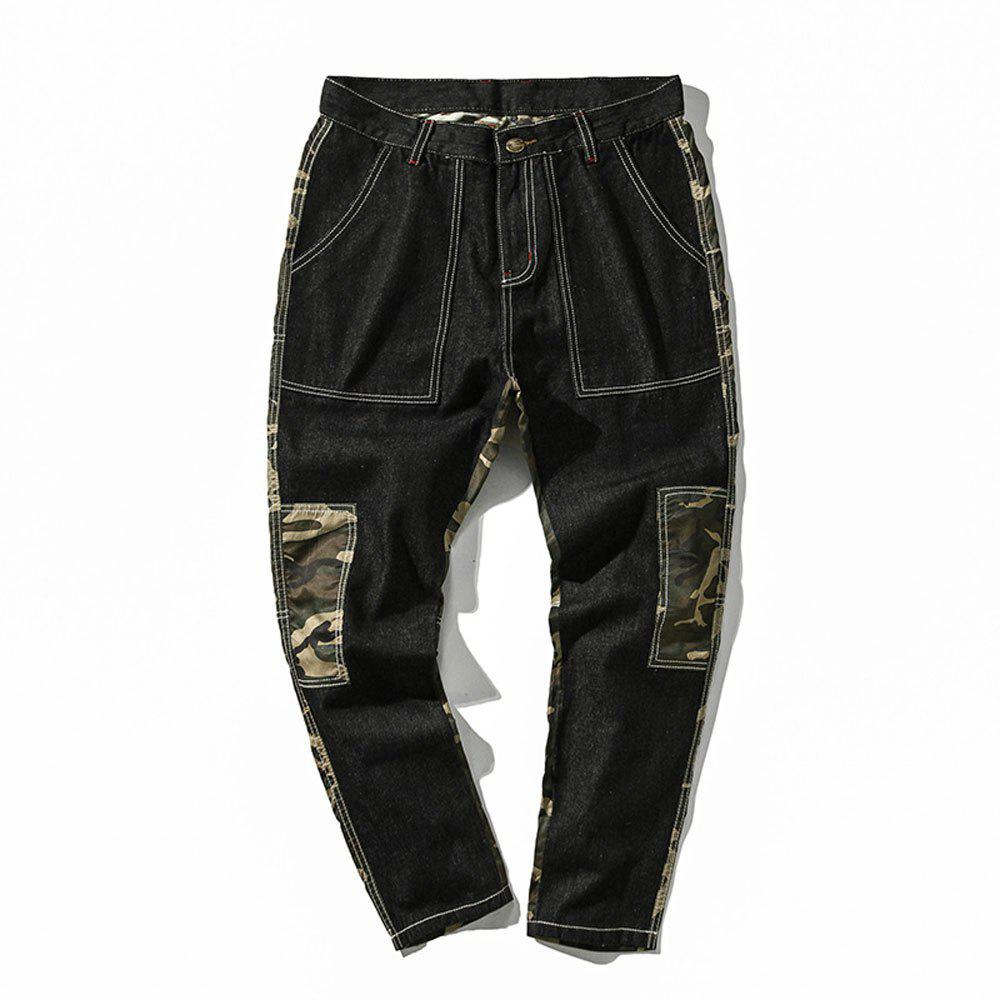 Sale Men's  Camouflage Stitching Multi-pocket Casual Pants