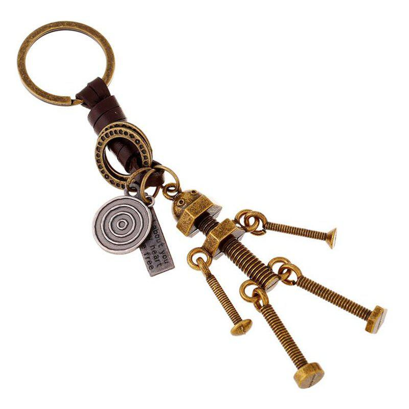 New Personality Creative Couple Screw Robot  Leather Keychain