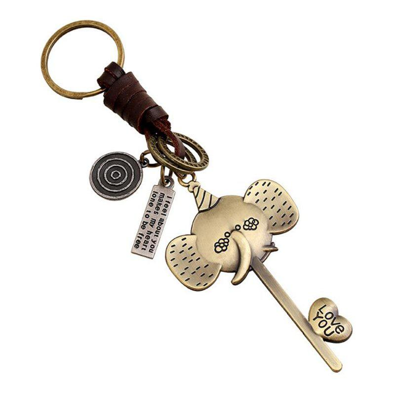Outfits Alloy Long Nose Elephant Woven Leather Key Chain