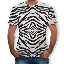 New Round Neck Casual Striped Print T-shirt -