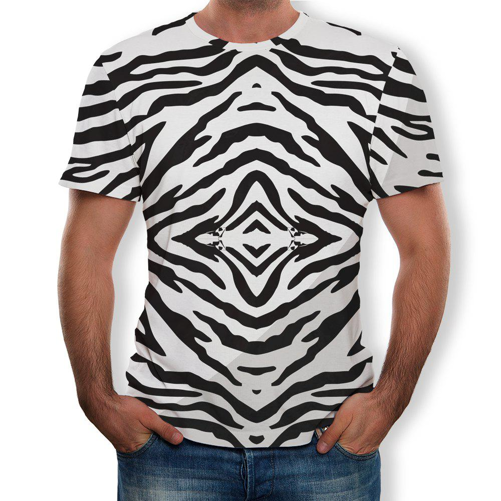 Cheap New Round Neck Casual Striped Print T-shirt