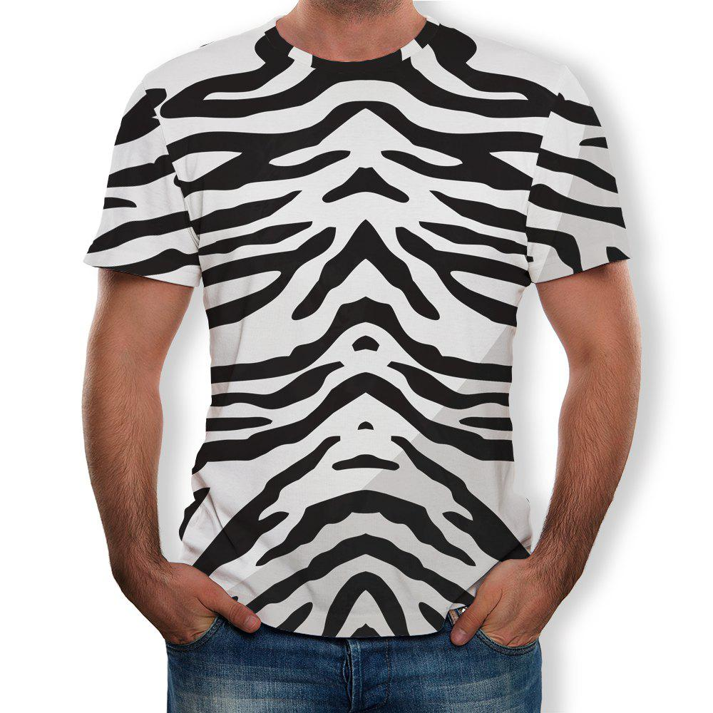 Latest New Round Neck Casual Striped Print T-shirt