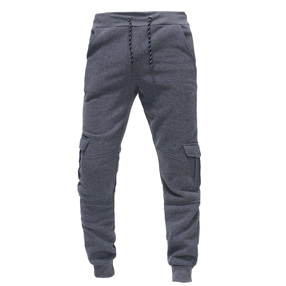Affordable 2018 Men's Fashion Casual Tether Elastic Multi-pocket Sports Trousers