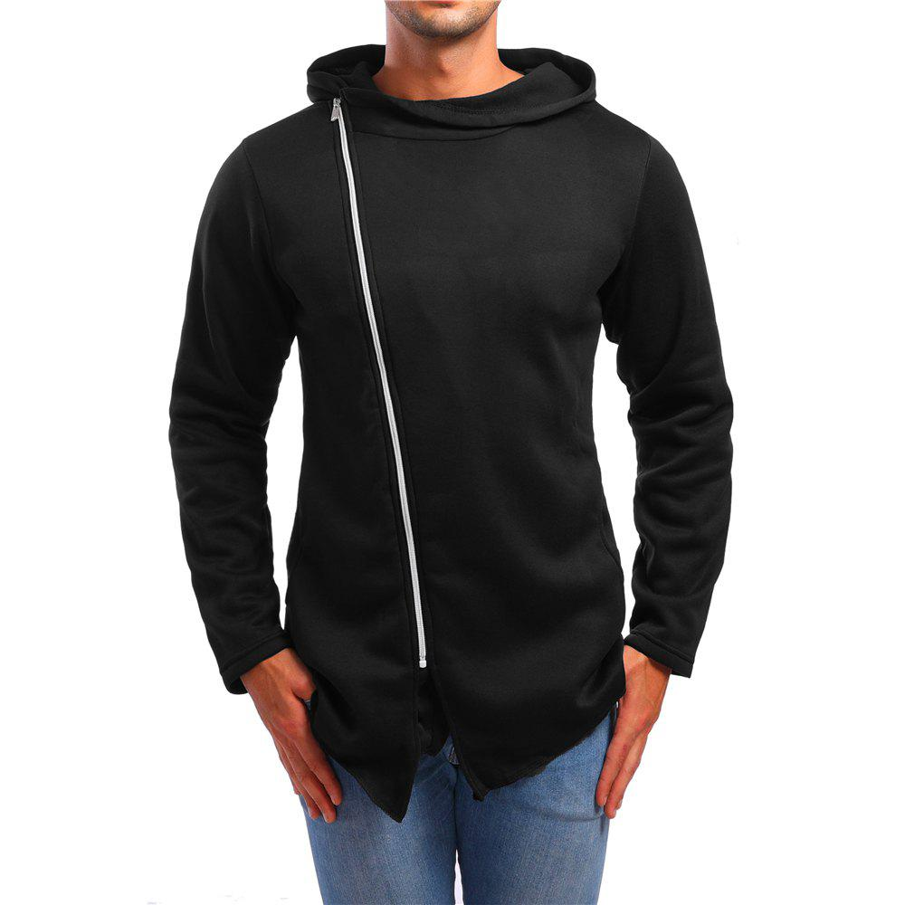 Outfits Men's Asymmetric Casual Stand Collar Zip Sports Hoodie