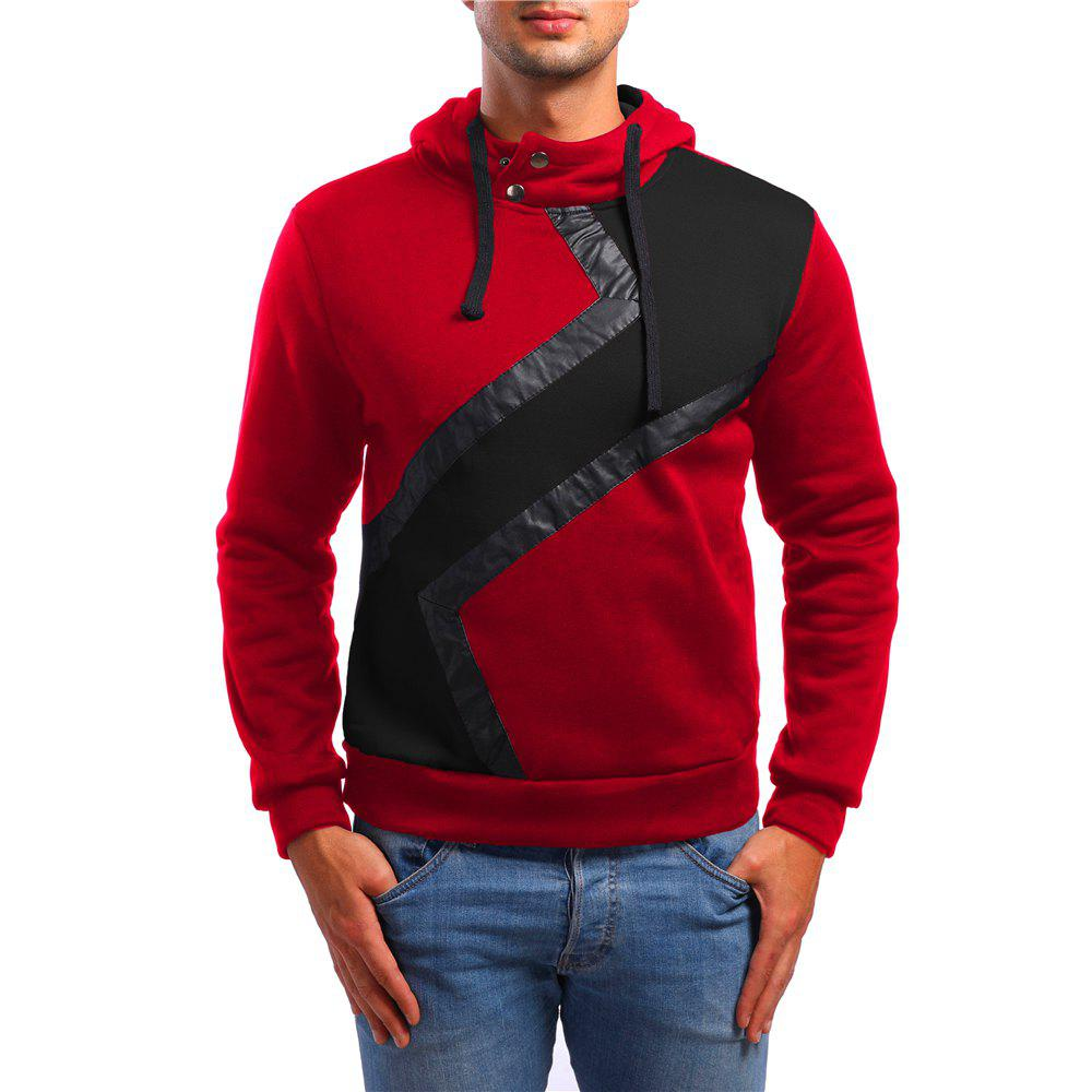 Fashion Men's Casual Hit Color PU Decorative Sports Hoodie