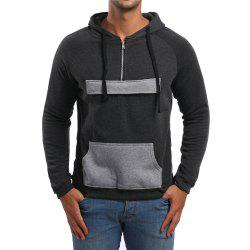 Men's Casual Zipper Pocket Color Block Long Sleeve Hoodie -