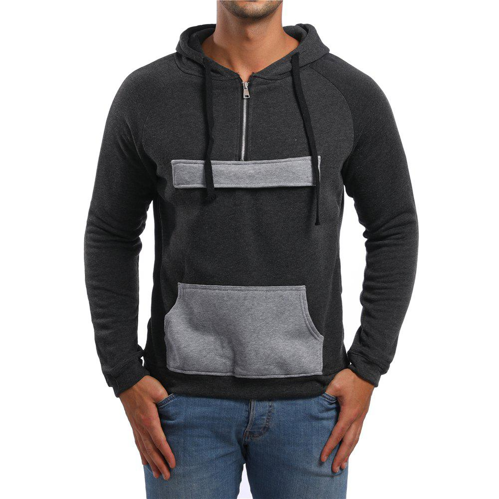 Shops Men's Casual Zipper Pocket Color Block Long Sleeve Hoodie