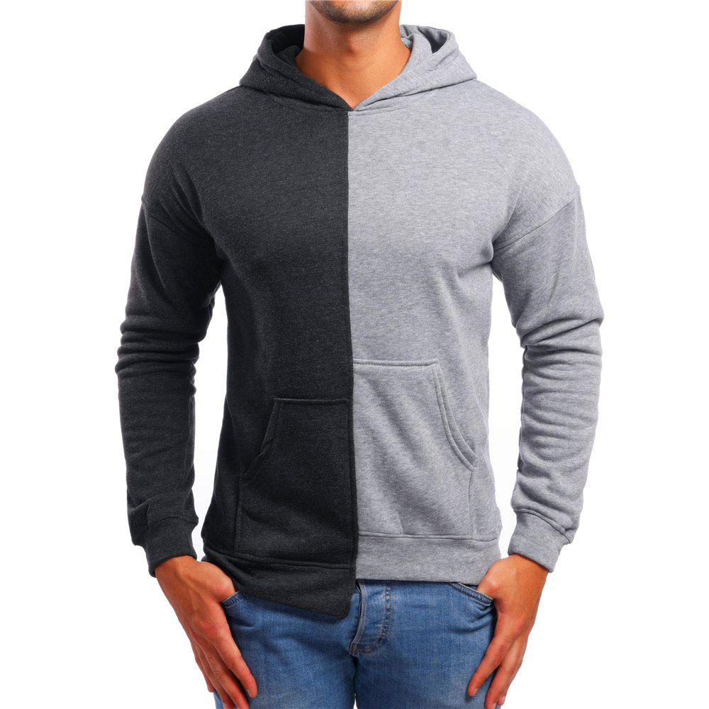Shop Men's Casual Asymmetric Colorblock Hoodie