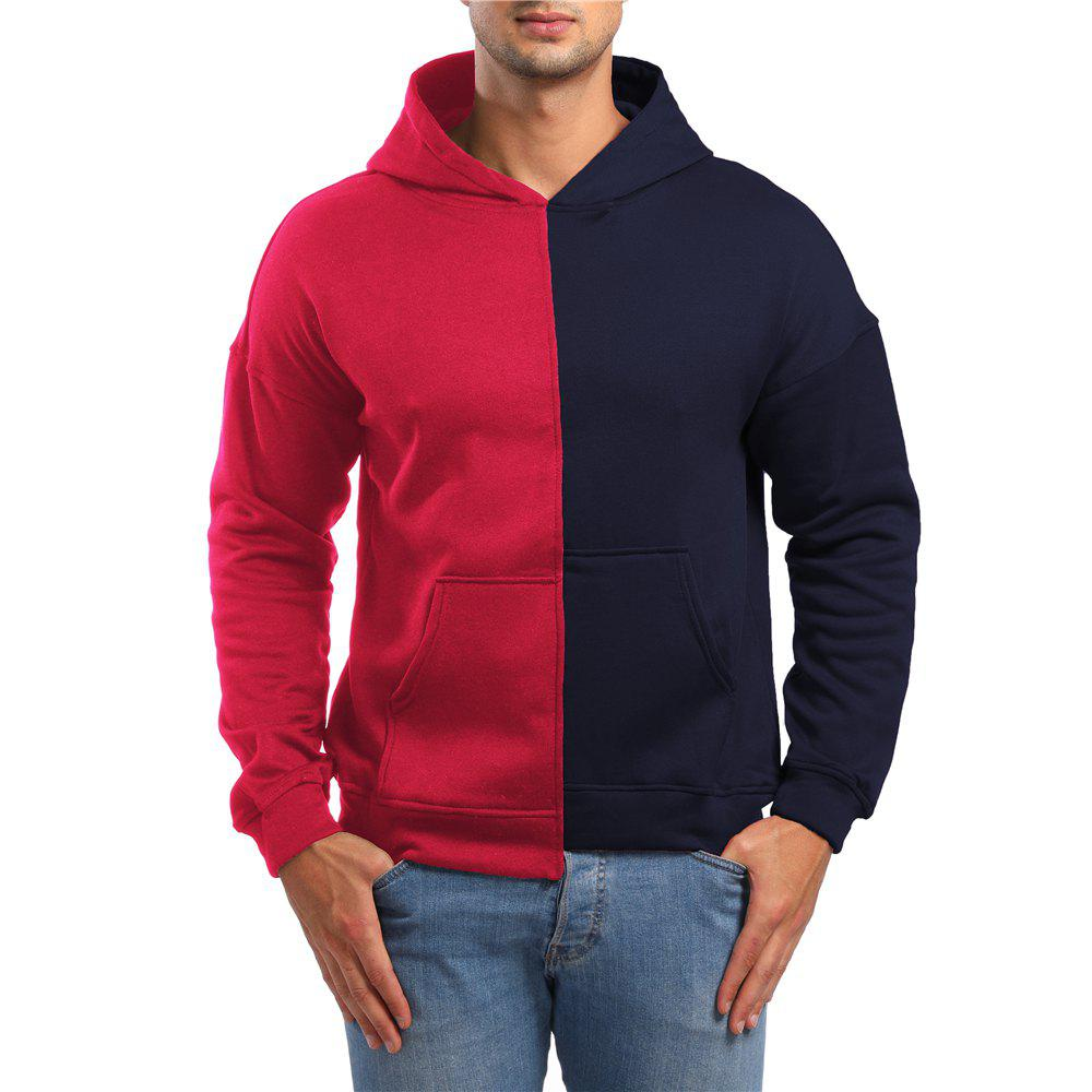 Cheap Men's Casual Asymmetric Colorblock Hoodie