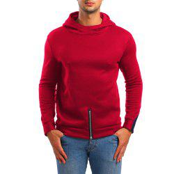 Men's Zipper Contrast Long Sleeve Hoodie -