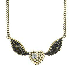 Fashion Cute Full Rhinestone Heart Wing Pendant Necklace -