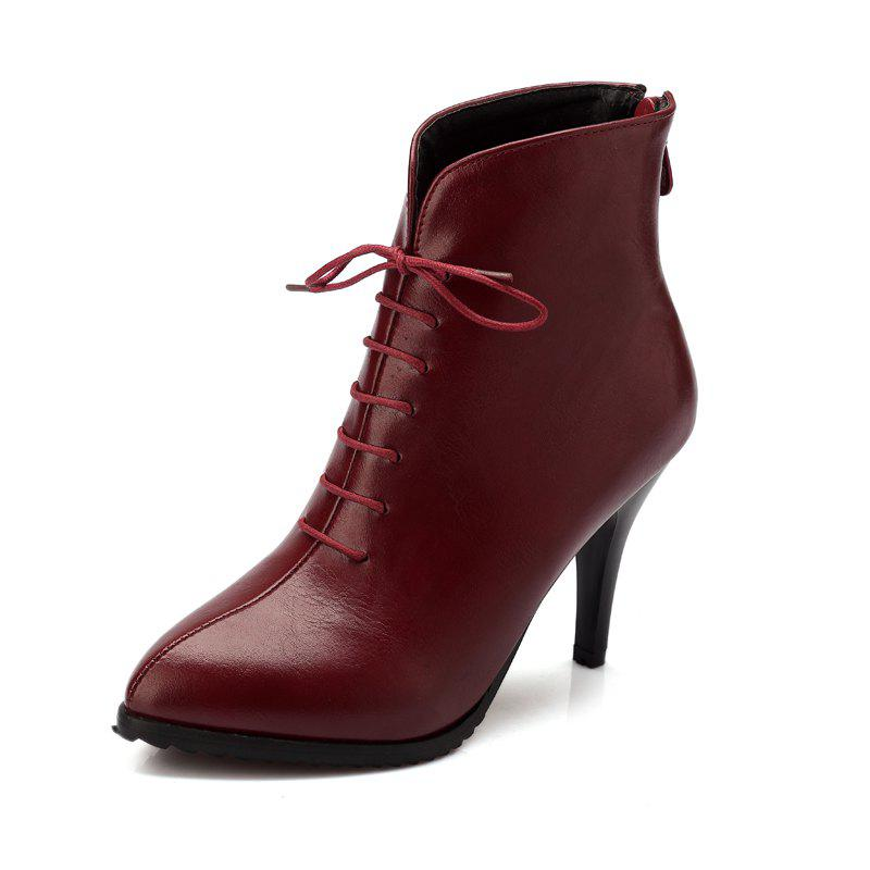 Affordable Pointed Laces Back Zipper Womens Boots